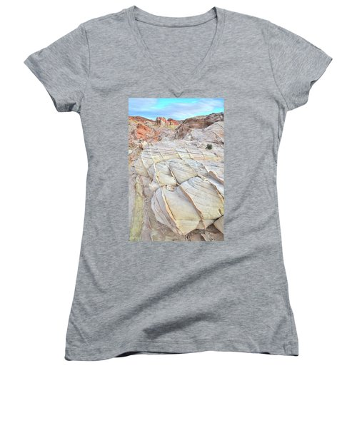 Valley Of Fire Sandstone Women's V-Neck T-Shirt (Junior Cut) by Ray Mathis
