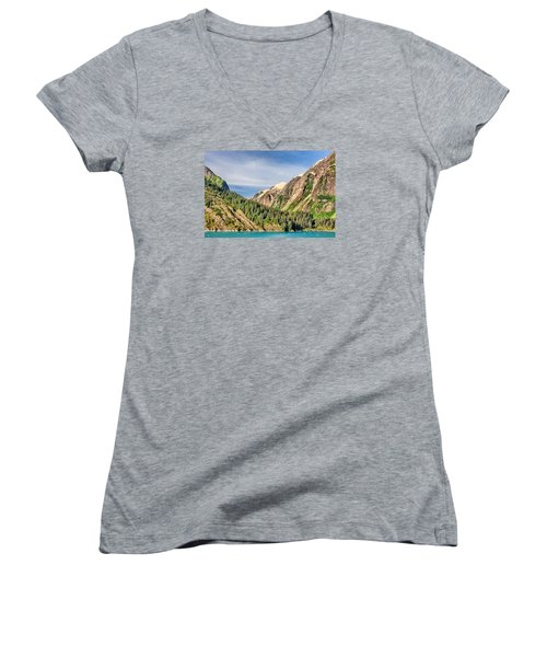 Women's V-Neck T-Shirt (Junior Cut) featuring the photograph Valley Of Trees by Lewis Mann