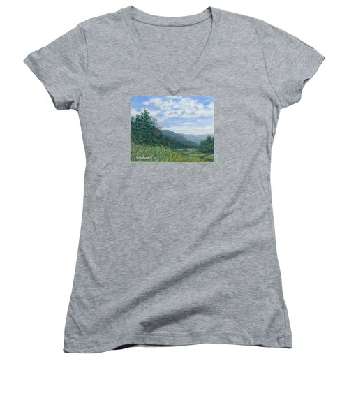 Valley View Women's V-Neck T-Shirt (Junior Cut) by Kathleen McDermott