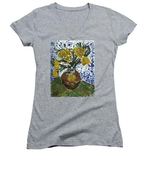 Van Gogh Women's V-Neck T-Shirt (Junior Cut) by J R Seymour