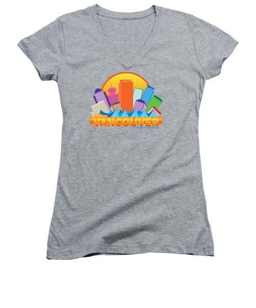 Vancouver Bc Canada Skyline Circle Color Illustration Women's V-Neck T-Shirt