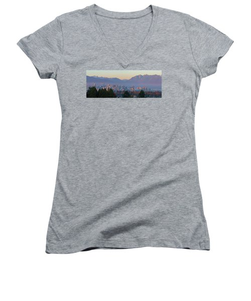 Vancouver Bc Downtown Cityscape At Sunset Panorama Women's V-Neck (Athletic Fit)