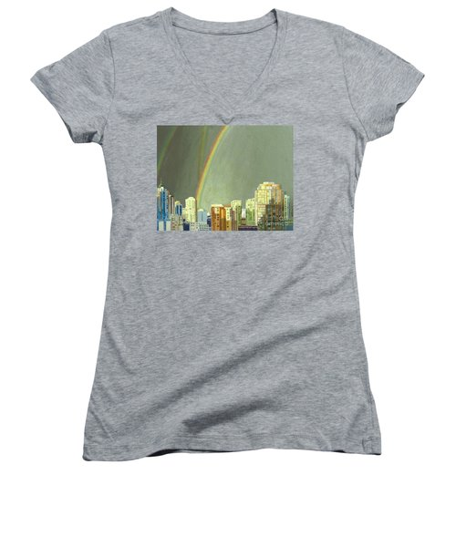 Vancouver Bc Women's V-Neck T-Shirt (Junior Cut) by Lynne Reichhart