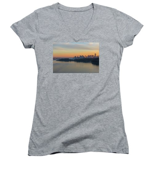 Vancouver Bc Skyline And Stanley Park At Sunset Women's V-Neck (Athletic Fit)