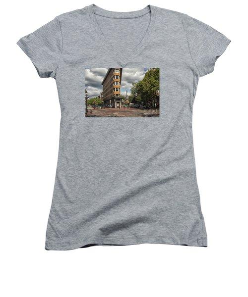 Vancouver City Life Women's V-Neck T-Shirt (Junior Cut) by Patricia Hofmeester