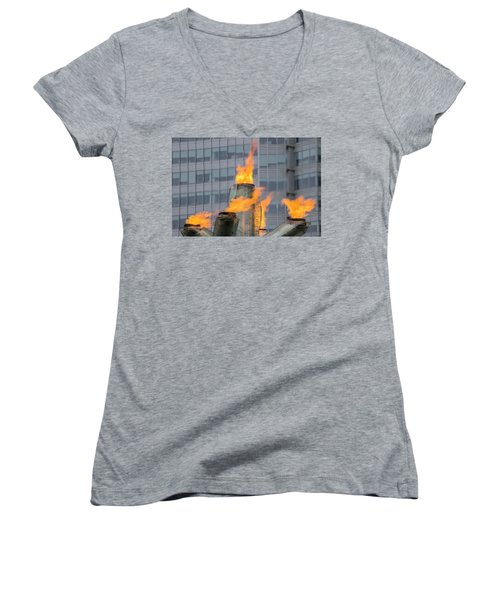 Vancouver Olympic Cauldron 2 Women's V-Neck T-Shirt (Junior Cut) by Ross G Strachan