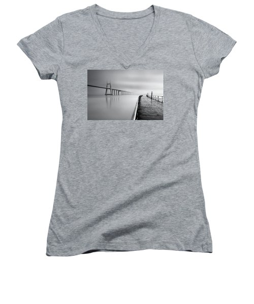 Women's V-Neck T-Shirt (Junior Cut) featuring the photograph Vanishing by Jorge Maia
