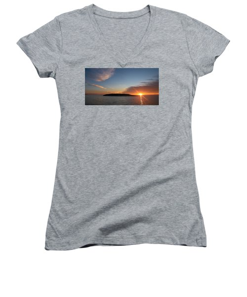 Women's V-Neck T-Shirt (Junior Cut) featuring the photograph Variations Of Sunsets At Gulf Of Bothnia 3 by Jouko Lehto
