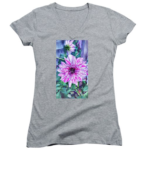 Variegated Dahlia In Oil Women's V-Neck (Athletic Fit)