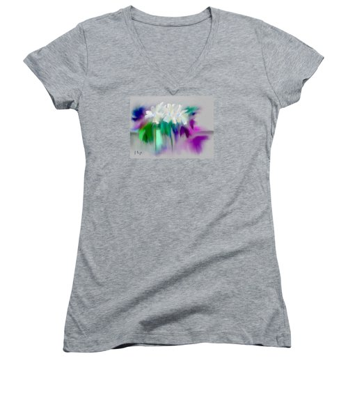 Women's V-Neck T-Shirt (Junior Cut) featuring the digital art Vase And Blooms Abstract by Frank Bright