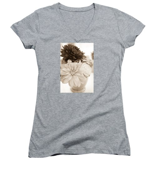 Vase Of Flowers In Sepia Women's V-Neck T-Shirt