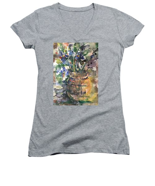 Vase Of Many Colors Women's V-Neck T-Shirt (Junior Cut) by Robin Miller-Bookhout