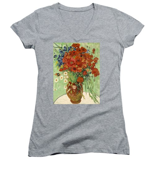 Women's V-Neck featuring the painting Vase With Daisies And Poppies by Van Gogh