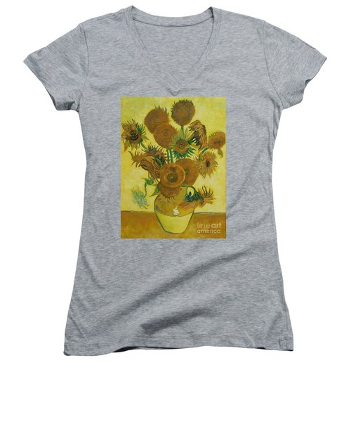 Vase Withfifteen Sunflowers Women's V-Neck (Athletic Fit)