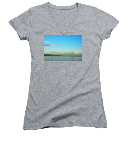 Vashon Island Women's V-Neck T-Shirt (Junior Cut) by Angi Parks