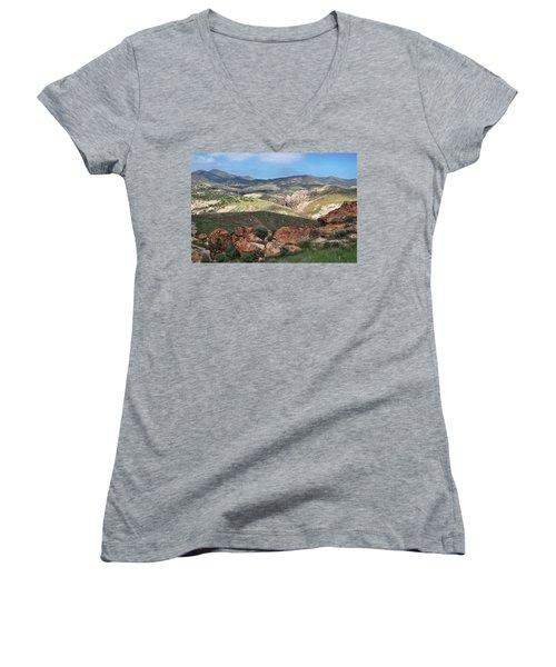 Vasquez Rocks Park Women's V-Neck T-Shirt (Junior Cut) by Kyle Hanson