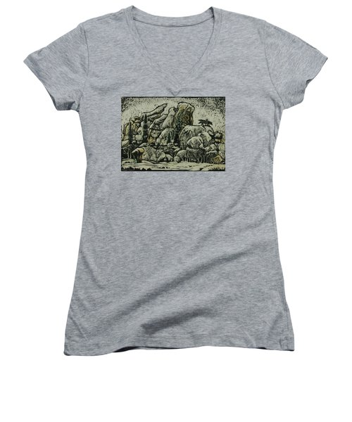Women's V-Neck T-Shirt (Junior Cut) featuring the drawing Vedauwoo by Dawn Senior-Trask