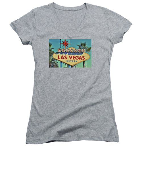 Women's V-Neck featuring the painting Vegas by Harry Warrick