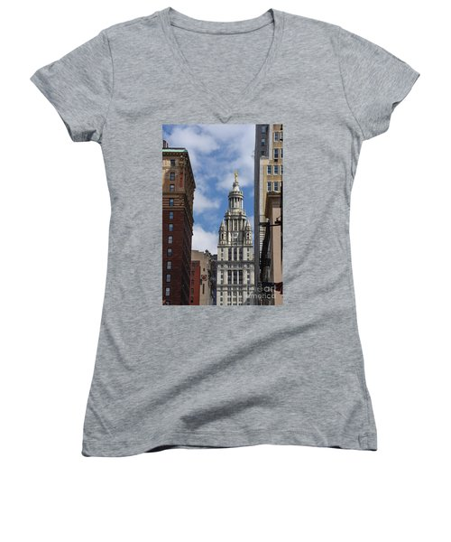 Women's V-Neck T-Shirt (Junior Cut) featuring the photograph Veiw Of City Hall by Judy Wolinsky