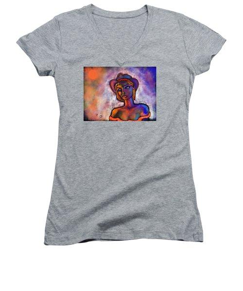 Velvet Squeeze Women's V-Neck T-Shirt (Junior Cut) by Hans Magden