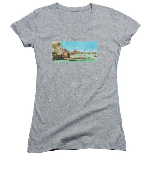 Venetian Canal Women's V-Neck T-Shirt (Junior Cut) by Sergey Lukashin