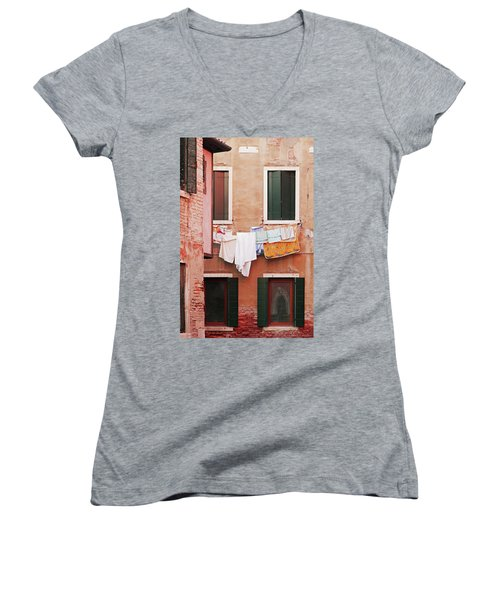 Women's V-Neck T-Shirt (Junior Cut) featuring the photograph Venetian Laundry In Peach And Pink by Brooke T Ryan