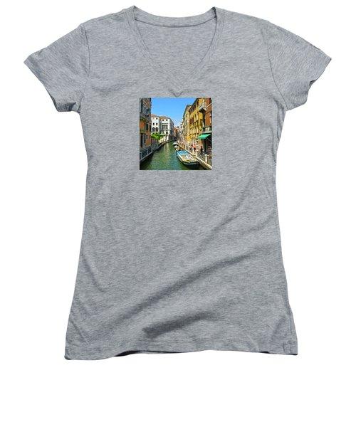 Women's V-Neck T-Shirt featuring the photograph Venetian Sunshine by Anne Kotan