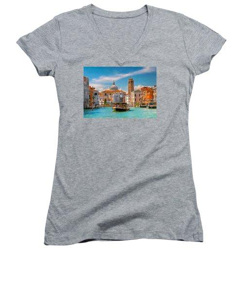 Venezia. Fermata San Marcuola Women's V-Neck (Athletic Fit)