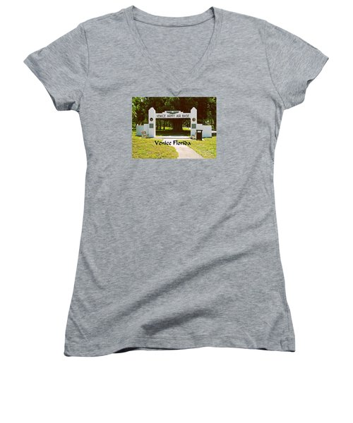 Women's V-Neck T-Shirt (Junior Cut) featuring the photograph Venice Army Air Force by Gary Wonning