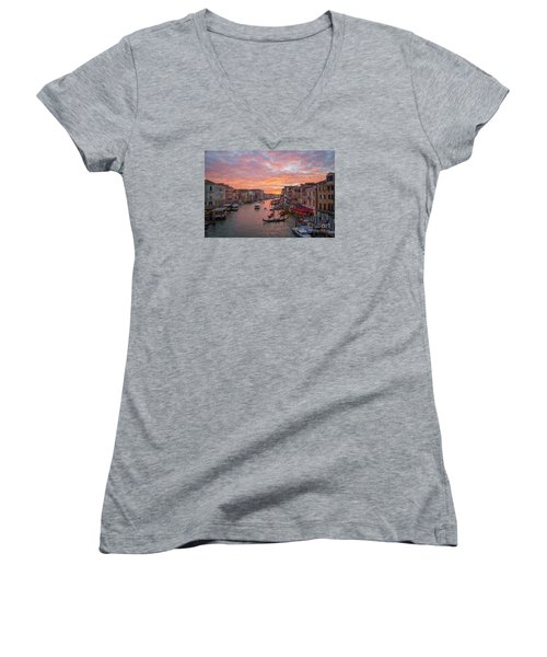 Venice At Sunset - Italy Women's V-Neck (Athletic Fit)