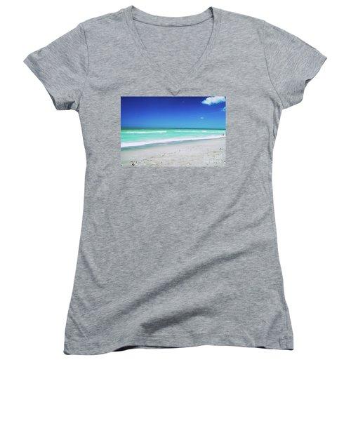 Women's V-Neck T-Shirt featuring the photograph Venice Beach by Gary Wonning