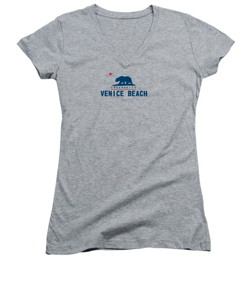 Venice Beach La. Women's V-Neck T-Shirt (Junior Cut) by Lerak Group LLC