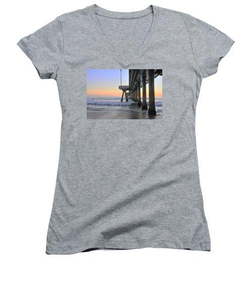 Venice Beach Pier Sunset Women's V-Neck (Athletic Fit)