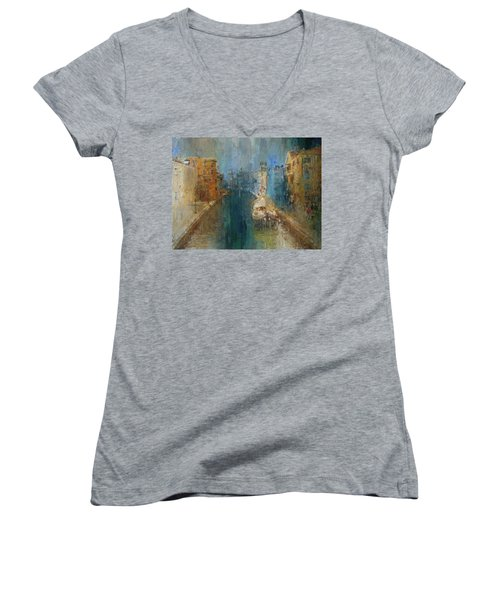 Venice Blue And Yellow Women's V-Neck (Athletic Fit)
