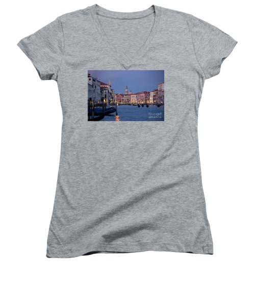 Women's V-Neck featuring the photograph Venice Blue Hour 2 by Heiko Koehrer-Wagner