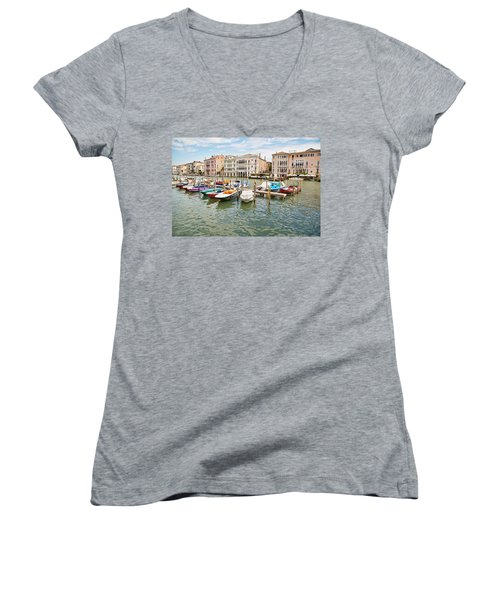 Venice Boats Women's V-Neck T-Shirt (Junior Cut) by Sharon Jones