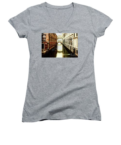 Venice Bridge Of Sighs Women's V-Neck (Athletic Fit)