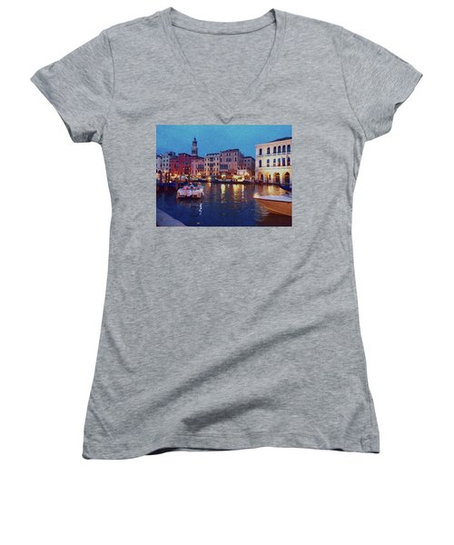 Women's V-Neck T-Shirt featuring the photograph Venice By Night by Anne Kotan