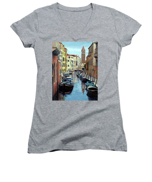 Venice Canal Reflections Women's V-Neck T-Shirt (Junior Cut) by Janet King