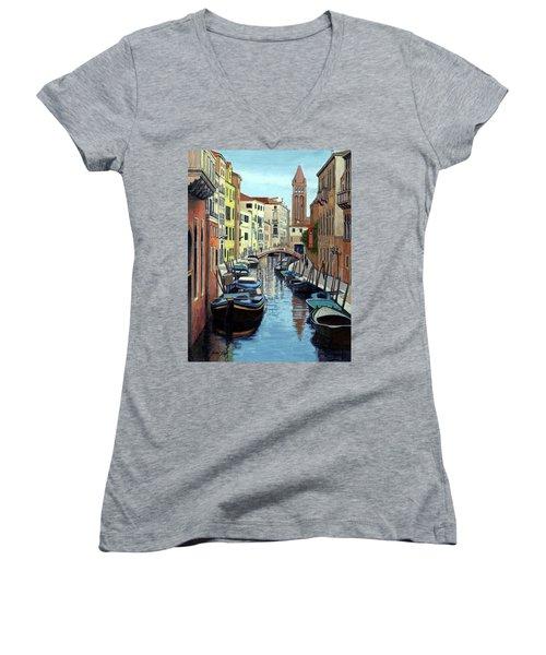 Venice Canal Reflections Women's V-Neck T-Shirt