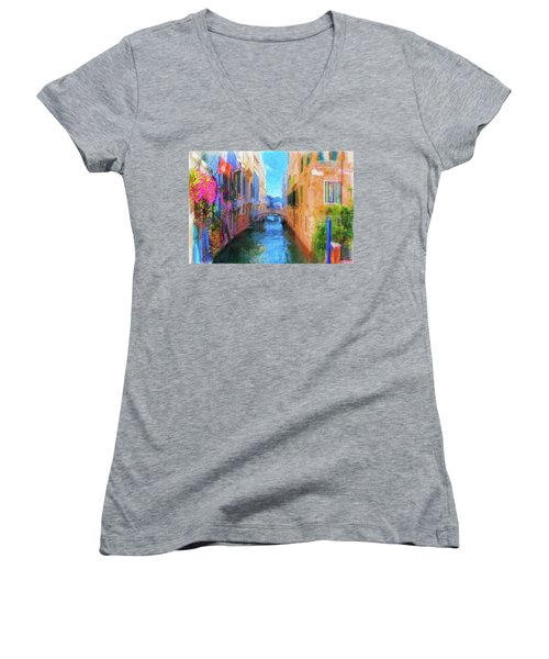Venice Canal Painting Women's V-Neck T-Shirt (Junior Cut) by Michael Cleere
