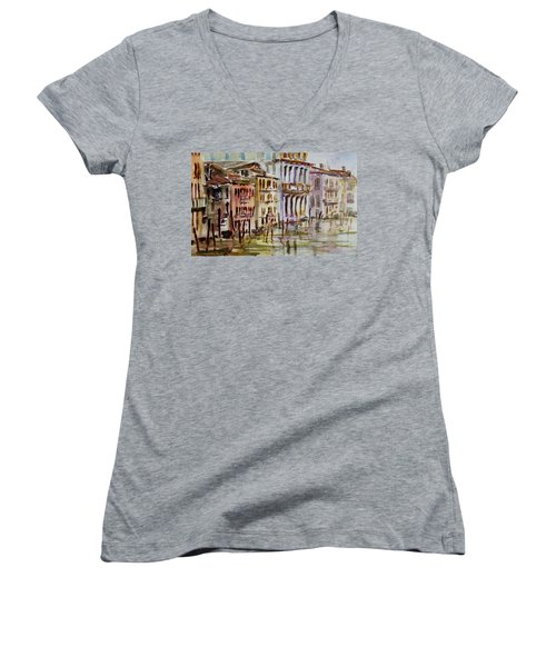 Women's V-Neck T-Shirt (Junior Cut) featuring the painting Venice Impression II by Xueling Zou