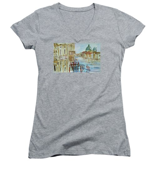 Women's V-Neck T-Shirt (Junior Cut) featuring the painting Venice Impression IIi by Xueling Zou