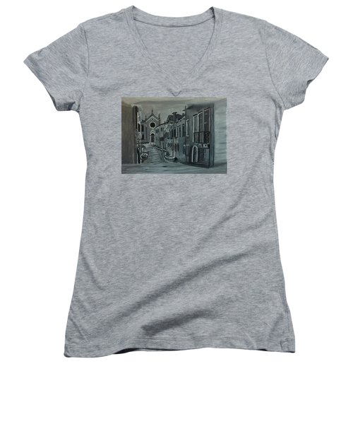Women's V-Neck T-Shirt (Junior Cut) featuring the painting Venice In Grey And White by Rod Jellison