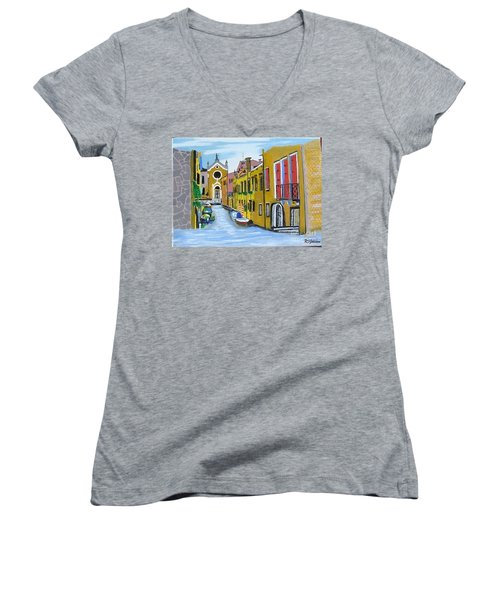 Women's V-Neck T-Shirt (Junior Cut) featuring the painting Venice In September by Rod Jellison