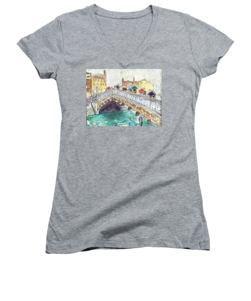 Women's V-Neck T-Shirt (Junior Cut) featuring the painting Venice In The Rain by Barbara Anna Knauf
