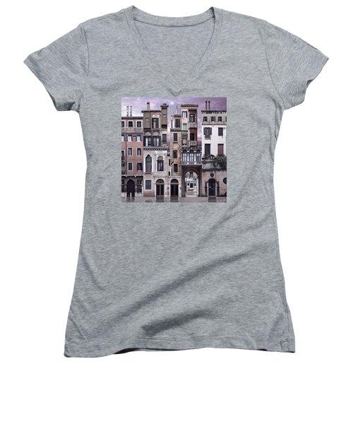 Venice Reconstruction 1 Women's V-Neck T-Shirt (Junior Cut)