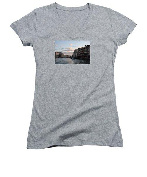 Women's V-Neck T-Shirt (Junior Cut) featuring the photograph Venice Sunset by Robert Moss