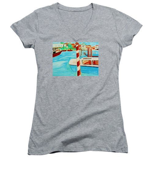 Venice Travel By Boat Women's V-Neck (Athletic Fit)
