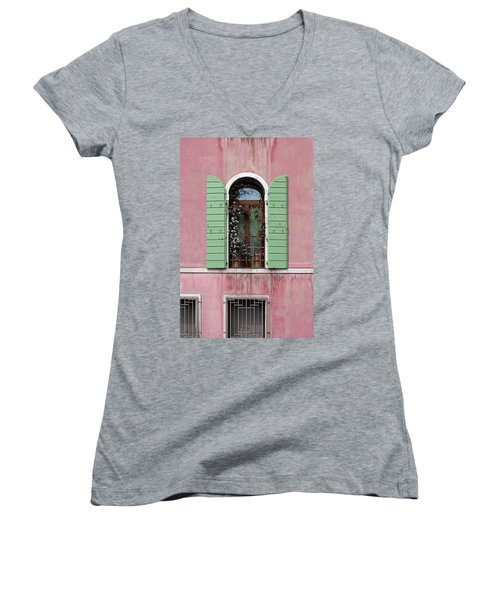 Venice Window In Pink And Green Women's V-Neck T-Shirt (Junior Cut) by Brooke T Ryan